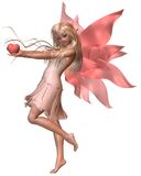 Pink Valentine Fairy - 2. Digital render of a pink valentine fairy holding a heart Royalty Free Stock Image