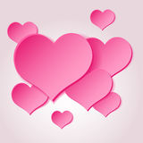 Pink valentine hearths from paper decoration element Royalty Free Stock Images