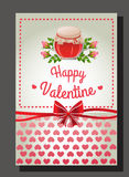 Pink valentine jar. Valentine card with jar of sweets Royalty Free Stock Photo
