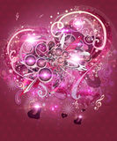 Pink valentine music background Stock Images