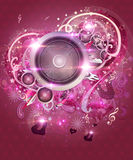 Pink valentine music background Royalty Free Stock Photos