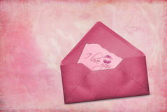 Pink valentine note Royalty Free Stock Image