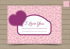 Pink Valentine Postcard Template with Hearts. Pink Valentine Card Template with Hearts for a Saint Valentines Day.  Vector illustration Can be Used for Love Royalty Free Stock Photo
