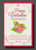 Pink valentine rose. Valentine card with rose and pink theme Stock Photos