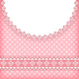 Pink valentine`s background  with doily. Stock Image
