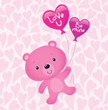 Pink Valentine's Bear with Balloons Stock Photo