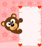 Pink Valentine's day background with bear Stock Photos