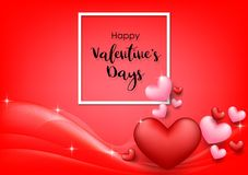 Pink Valentine`s Day background with hearts on red. Vector illustration. Cute love banner or greeting card royalty free stock images