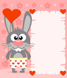 Pink Valentine's day background with rabbit Royalty Free Stock Image