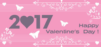 Pink Valentine`s Day greeting stock photography