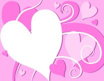 Pink Valentine's Day Hearts Swirls vector illustration