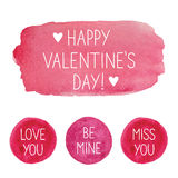 Pink Valentine`s Day watercolor design elements. Pink Valentine`s Day watercolor  design elements Stock Photography