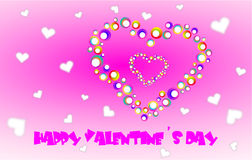 Pink Valentine wishes. Wishes happy Valentine's day with two hearts on color wheels and other lots of hearts Stock Images