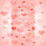 Pink Valentines background with hearts Stock Image