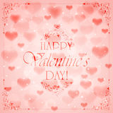 Pink Valentines background with hearts Stock Photo