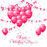 Pink Valentines balloons and pennants. Valentines background with pink balloons in the form of heart, pennants and confetti, lettering Happy Valentines Day Stock Images