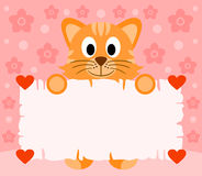 Pink Valentines day background with cat Stock Images