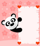 Pink Valentines day background with panda Stock Photos