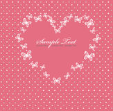 Pink Valentines day card with heart Stock Image