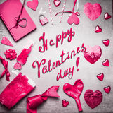 Pink Valentines day card with various greeting decoration: heats, balloons, ribbon, lock and key , diary book and handwritten text. Happy Valentines day, top Royalty Free Stock Image