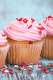 Pink Valentines Day cupcakes with sprinkles Royalty Free Stock Images
