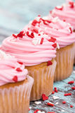 Pink Valentines Day cupcakes with sprinkles Royalty Free Stock Photos