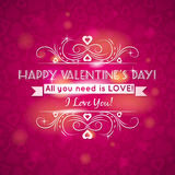 Pink valentines day greeting card  with  hearts,   Royalty Free Stock Photo