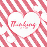 Pink Valentines Day Greeting card. White Paper cut heart frame Stock Photography