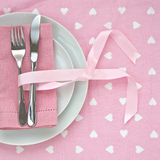 Pink Valentines Day table setting Royalty Free Stock Photography