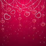 Pink Valentines decoration with hearts Royalty Free Stock Photography