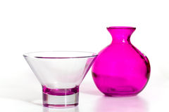 Pink Vase and Cup on the white Background Stock Images