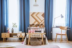 Wooden chair in teenager`s bedroom Royalty Free Stock Images