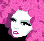 Pink, vector. Portrait of girl with pink curly hair vector illustration
