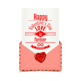 Pink vector envelope with wax seal in heart shape with love message, Valentine illustration Stock Image