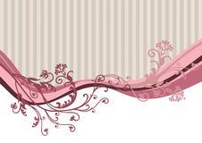 Pink Vector Flowers On Striped Background Royalty Free Stock Photo