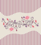 Pink vector flowers and stripes Stock Image