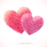 Pink vector isolated fluffy hearts pair Stock Photo