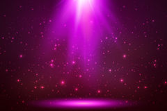 Pink vector magic top light in darkness. Abstract background vector illustration