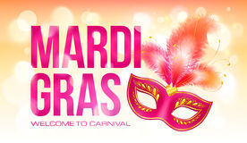 Pink vector Mardi Gras banner template with red Royalty Free Stock Images