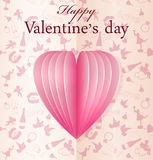 Pink vector paper Valentines heart Stock Image