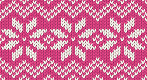 Pink vector realistic knit seamless pattern with white snowflakes and zig zag ornament Stock Photo