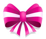 Pink vector ribbon bow graphic isolated on white background. Ideal for sticker, packaging, banner or any kind of decoration Royalty Free Stock Image