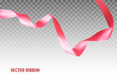 Pink vector ribbon. Made with gradient mesh. Realistic illustration Stock Photos