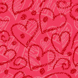 Pink vector seamless background with hand-drawn hearts. Stock Photography