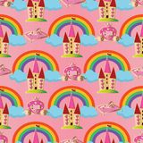 Pink vector seamless pattern background wallpaper illustration w. Ith fairytale princess castle,magic carriage,crystal shoe, colorful rainbow, blue clouds for Stock Photography