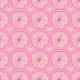 Pink vector seamless repeat pattern of abstract organic shapes representing lotus leaves or jellyfish in a batik tribal style. Ideal for fabric, home decor stock illustration