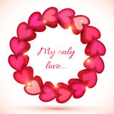 Pink vector shining frame of hearts Royalty Free Stock Image