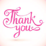 Pink vector Thank you hand-drawn sign Royalty Free Stock Photography