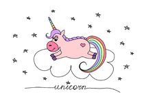 Pink vector unicorn on a cloud amongst the stars. royalty free illustration