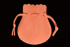 Pink velvet bag Stock Images